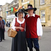 A lot of people dressed for the Cotswold Festival in English Civil War costume