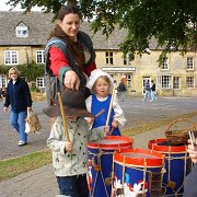 A family find The Sealed Knot's drums interesting