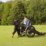 Loading a cannon during The Sealed Knot re-enactment of the 1646 Battle of Stow